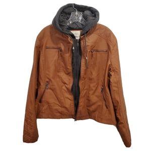 NWT Maralyn & Me Hooded Faux-Leather Moto Jacket